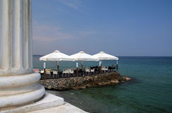 Vacation in Greece. Summer vacation in Greece good weather restaurant stock photo