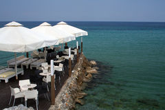 Vacation in Greece. Summer vacation in Greece good weather restaurant royalty free stock photos