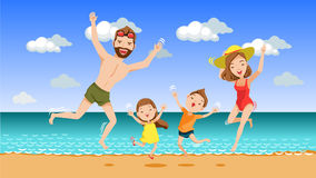 Vacation. Happy family with two kids hands up and jumping together on the beach.Father, mother, son, daughter.Family vacation concept.Cute cartoon character Stock Photos
