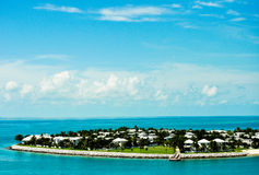 Vacation Haven. Scenic blue sky over a vacation island off the coast of Key West Florida Stock Photos