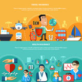Vacation And Health Insurance Horizontal Banners. With medical care and travel elements in flat style vector illustration Stock Photos