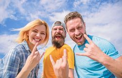 Vacation and hobby. Visit famous festival during vacation. Hard rock forever. Rock music festival. Heavy metal fans stock photo