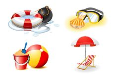 Vacation and holiday icons Stock Images