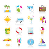 Vacation and holiday icons Royalty Free Stock Photos