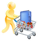 Vacation holiday man trolley. A man pushing a trolley with holiday essentials in it. Shopping for a holiday or vacation trip Royalty Free Stock Photography