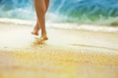 Vacation holidays concept - silhouette of sun-tanned  woman legs shoeless that walks along seashore. Blurred photo with shallow depth of field. Vacation Stock Image