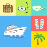 Vacation holidays and travel icons set. Flat vacation holidays and travel icons set of yacht palm tree flip-flops and hat vector illustration Royalty Free Stock Images