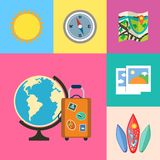 Vacation holidays and travel icons set. Flat vacation holidays and travel icons set of globe suitcase compass and map vector illustration Stock Photo