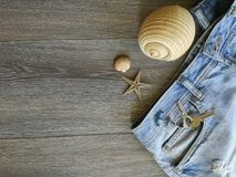 Vacation holyday and travel trip. Vacation holyday an travel trip to the favourite destination. Jeans and seashell background texture object details abstract stock photo