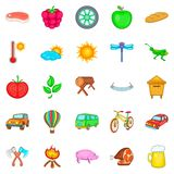 Vacation home icons set, cartoon style. Vacation home icons set. Cartoon set of 25 vacation home vector icons for web isolated on white background Stock Photos