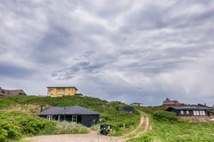 Vacation homes houses in Henne at the North Sea coast in Denmark. Vacation homes houses in Henne at the North Sea coast in  Denmark royalty free stock photos