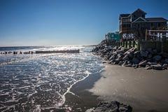 Vacation homes on ht e folly island beach Royalty Free Stock Photo
