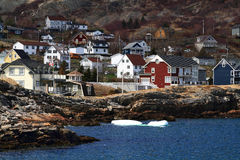 Vacation homes on the shore of Brigus Cove Newfoundland Canada Royalty Free Stock Image
