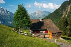 Vacation house in the mountains. (Flumserberg, Switzerland Stock Photography
