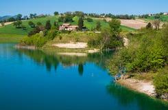 Vacation House On Cingoli Lake Royalty Free Stock Images