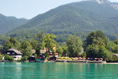 Vacation houses on the shore  of Lake St. Wolfgang, Austria Royalty Free Stock Photography