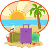 Vacation Icon. Cute illustration of suitcases and a beach in the background. Eps10 Royalty Free Stock Image