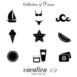 Vacation icon set. Royalty Free Stock Photography