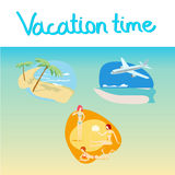 Vacation icon set. Palm on beach. Plane arrived to island. girls sunbathing on the beach Stock Illustration
