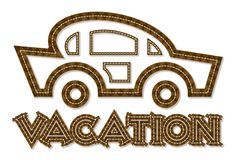 Vacation car line-art style icon royalty free stock images