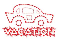 Vacation car line-art style icon Royalty Free Stock Image