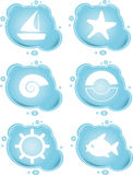 Vacation icons. On blue bubbles Stock Photo
