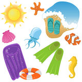 Vacation icons. Cute shiny set of different vacation stuff Stock Images