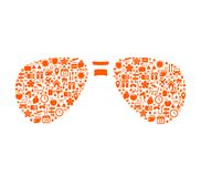 Vacation icons in abstract sunglasses shape Stock Photo
