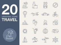 Vacation icons, blue line contour series Stock Photo