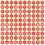 100 vacation icons hexagon orange Stock Photos