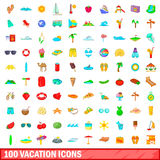 100 vacation icons set, cartoon style. 100 vacation icons set in cartoon style for any design vector illustration Stock Photos