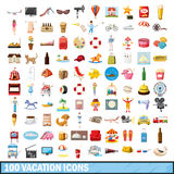 100 vacation icons set, cartoon style. 100 vacation icons set in cartoon style for any design vector illustration vector illustration