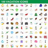 100 vacation icons set, cartoon style. 100 vacation icons set in cartoon style for any design illustration stock illustration