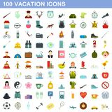 100 vacation icons set, flat style. 100 vacation icons set in flat style for any design illustration stock illustration
