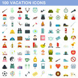 100 vacation icons set, flat style. 100 vacation icons set in flat style for any design vector illustration royalty free illustration