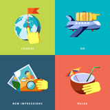 Vacation icons set. Flat vector illustration. Vacation color icons set. Flat vector illustration Royalty Free Stock Images