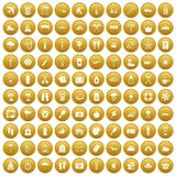 100 vacation icons set gold. 100 vacation icons set in gold circle isolated on white vector illustration Royalty Free Stock Photography