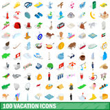 100 vacation icons set, isometric 3d style. 100 vacation icons set in isometric 3d style for any design vector illustration Stock Illustration
