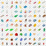 100 vacation icons set, isometric 3d style Royalty Free Stock Photography