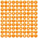 100 vacation icons set orange. 100 vacation icons set in orange circle isolated on white vector illustration royalty free illustration