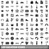 100 vacation icons set in simple style Stock Photography