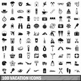 100 vacation icons set, simple style. 100 vacation icons set in simple style for any design vector illustration Stock Photos