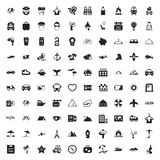 Vacation 100 icons set for web. Flat royalty free illustration