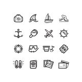 Vacation icons. Travel icons. Summer vacation icons. Stock Photo