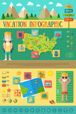 Vacation Infographic with Travel Icons Set. Vacation Flat Infographic with Travel Icons Set forYour Design Stock Photos