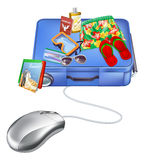 Vacation internet sale. Concept of a computer mouse and holiday items on a suitcase Royalty Free Stock Photo