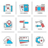 Vacation items line icons set Royalty Free Stock Photos
