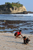 Vacation in Klayar Beach, Pacitan Royalty Free Stock Image