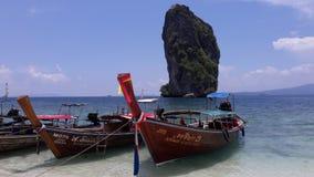 Vacation at Krabi. Long-tailed boat at Poda island in Krabi stock photos
