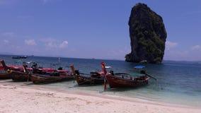 Vacation at Krabi. Long-tailed boat at Poda island in Krabi stock photo